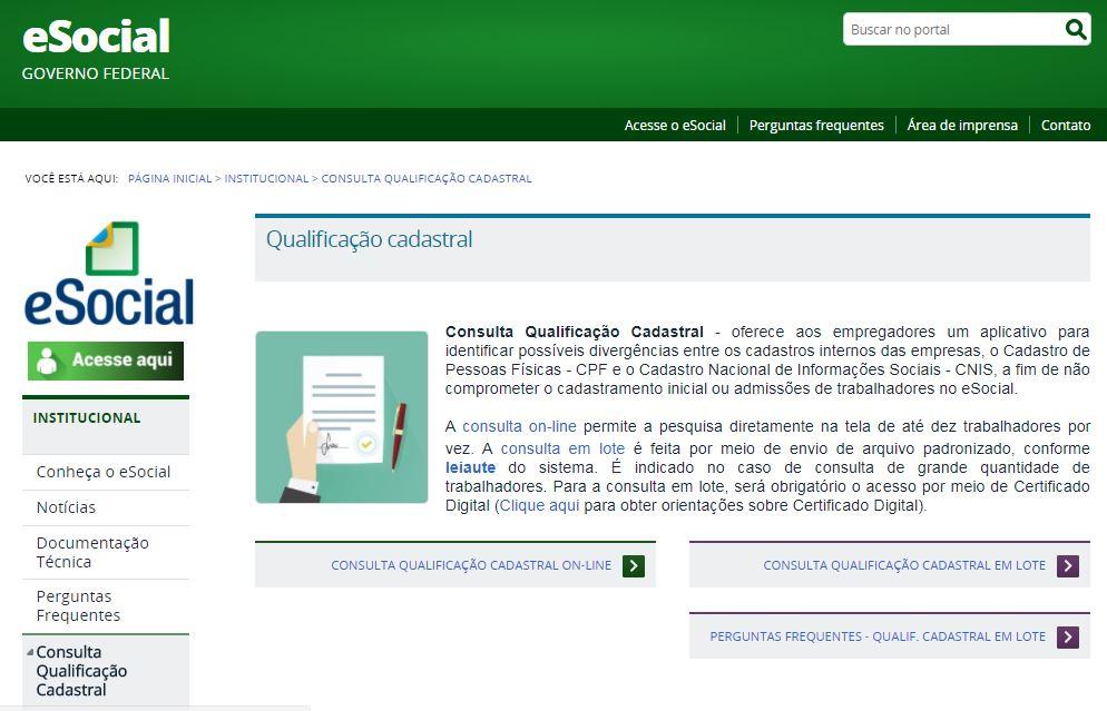 esocial qualificação cadastral mgp consultoria 3