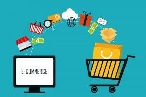 imagem de ecommerce no computador enviando produtos para carrinho de compras